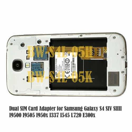 Dual Sim Card Adapter for Samsung Galaxy S4 SIV SIIII I9500 I9505 I950x i337 i545 L720 E300x
