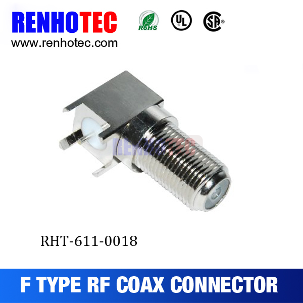 right angle female/jack F connector for PCB