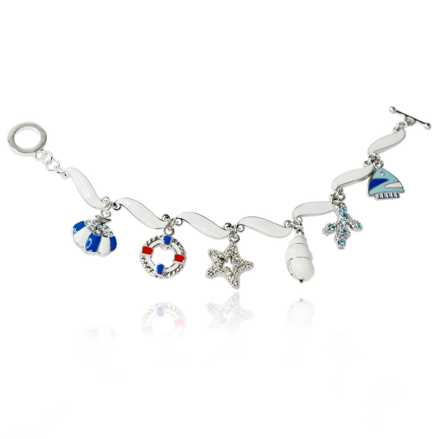 Ocean star bracelet-platinum plating metal bangle with enamel