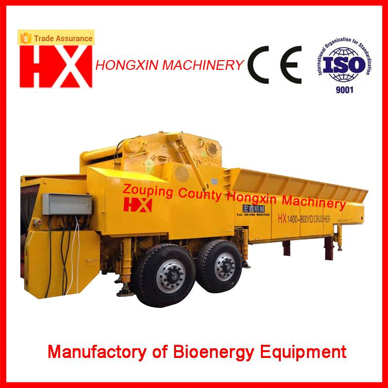 CE large-size mobile wood chipper wide usage biomass crusher tree shredder