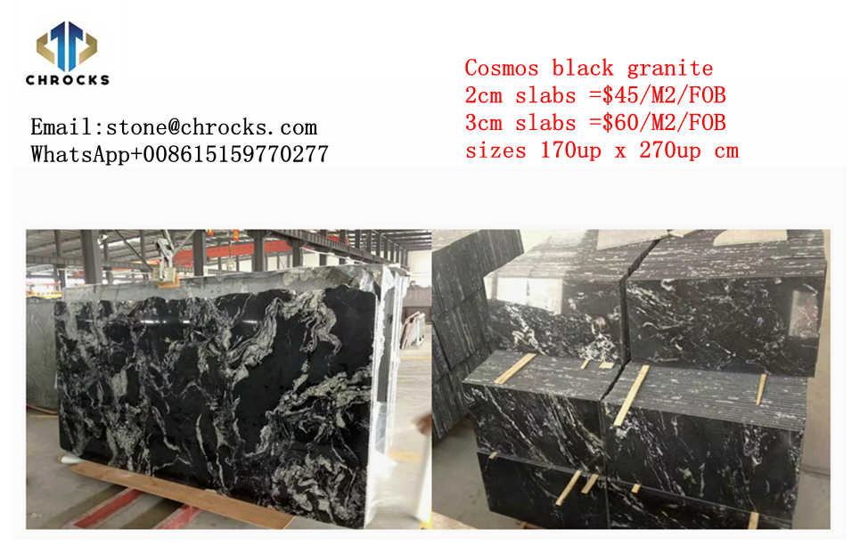 China Cosmos Black Granite Slab,Vanity Top,Black Granite Kitchen Countertop,Bath Top,With Splash