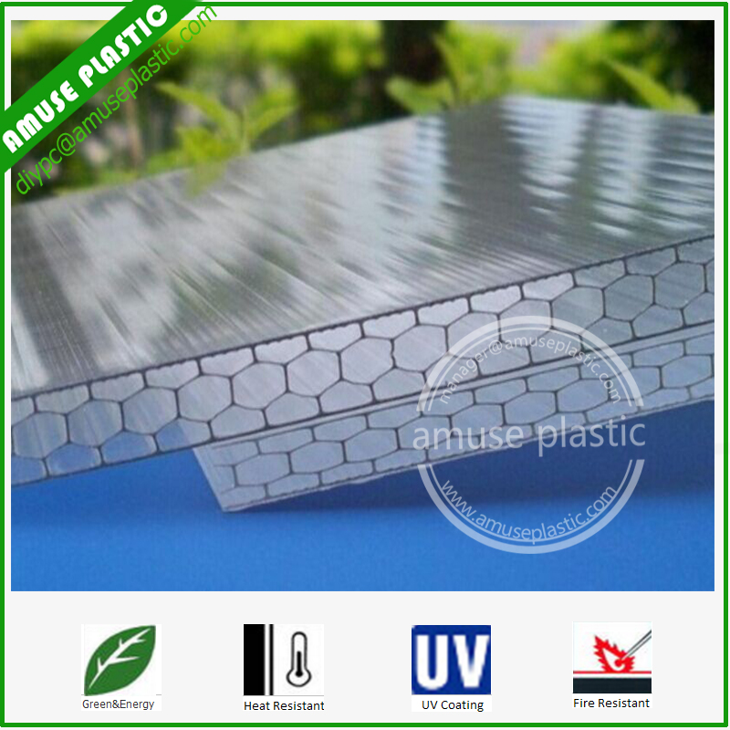 100% Virgin Plastic Building Material Four-Wall Honeycomb PC Polycarbonate Sheets