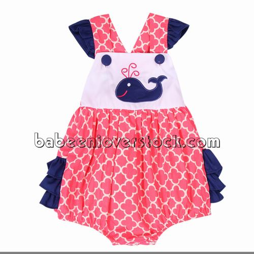 Adorable dolphin appliqued bubble for little girls - BB1022
