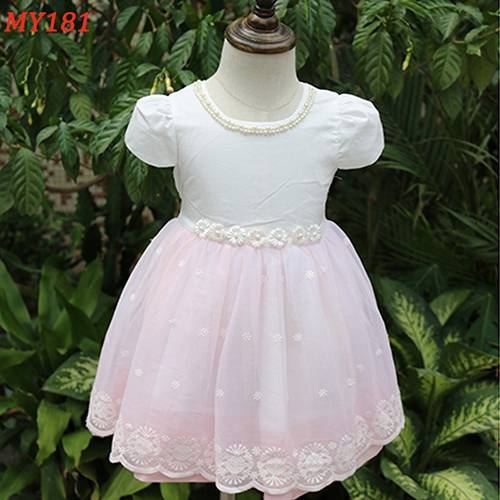 Laciness mesh flower girl dress baby cotton frocks designs