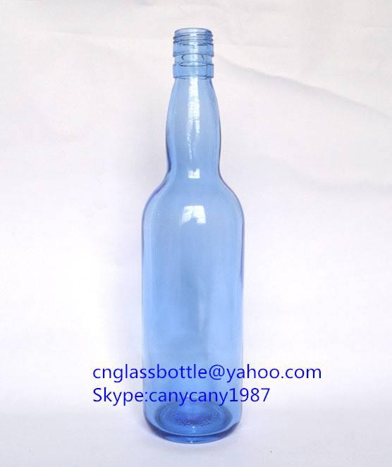 blue glass vodka bottles 600ml