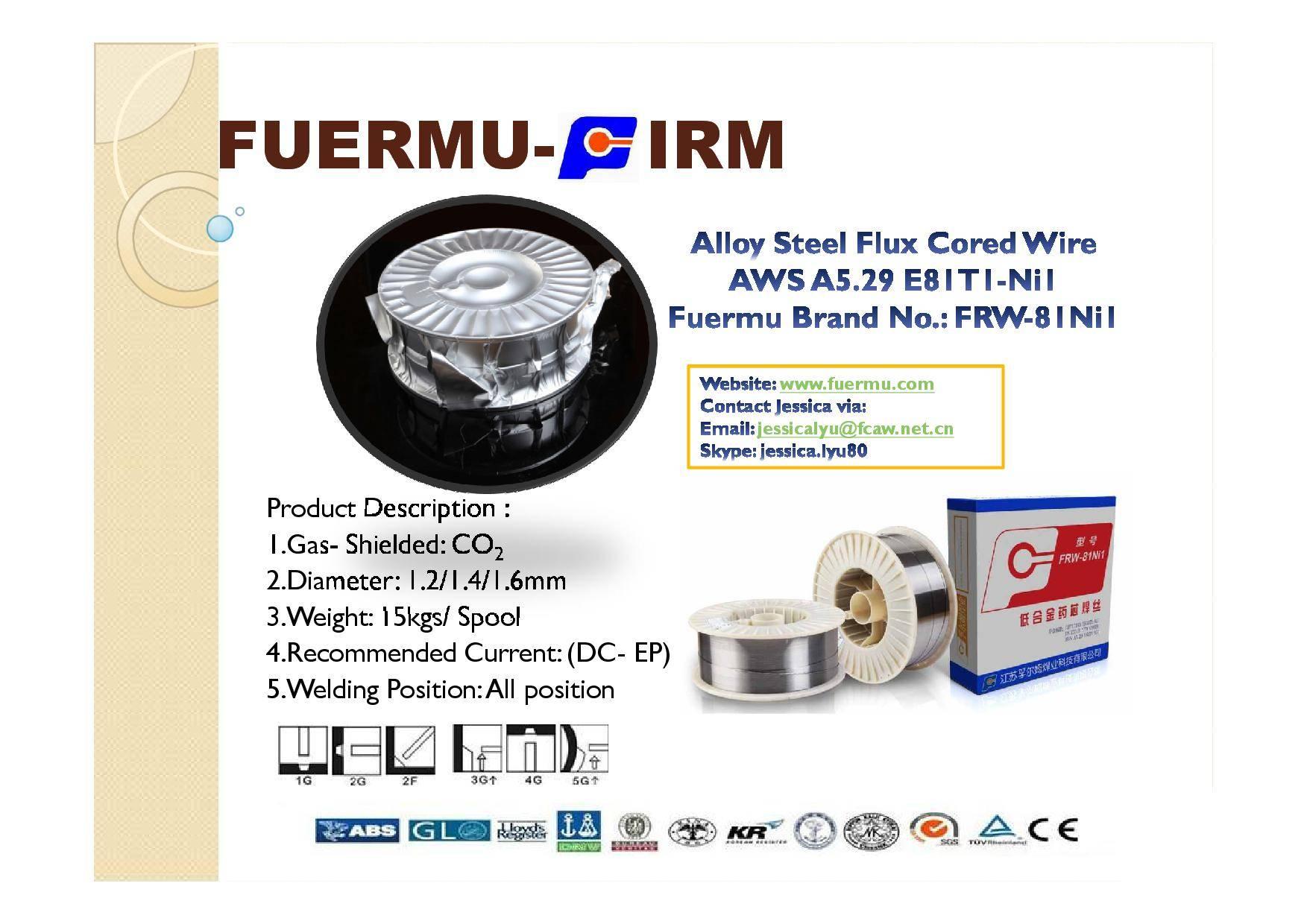 E81T1-Ni1 Flux Cored Welding Wire, Fuermu Brand: FRW-81Ni1