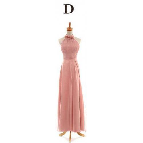 GLAMOROUS CHIFFON A-LINE RUCHED BODICE STRAPLESS HIGH-NECK WITH FLOWERS FLOOR LENGTH BRIDESMAID DRES