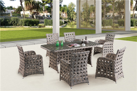 Hotel outdoor furniture pe rattan art dining table chairs
