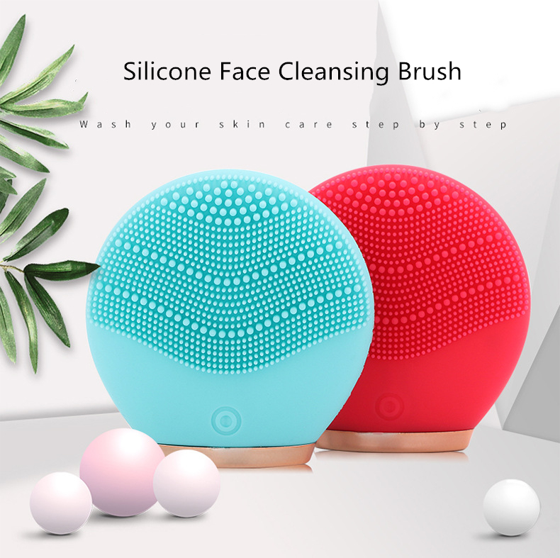 Electric Face Cleansing Brush Dual Silicone Mini Portable Face Massager Waterproof Sonic Vibration