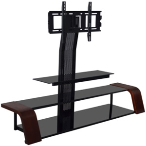 silk-screen tempered with wood veneer glass tv stand