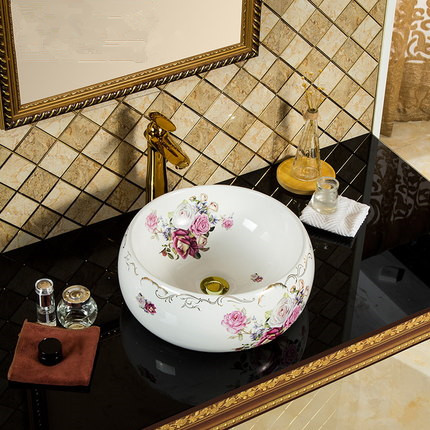 Modern design new ceramic round coloured basin for bathrooms