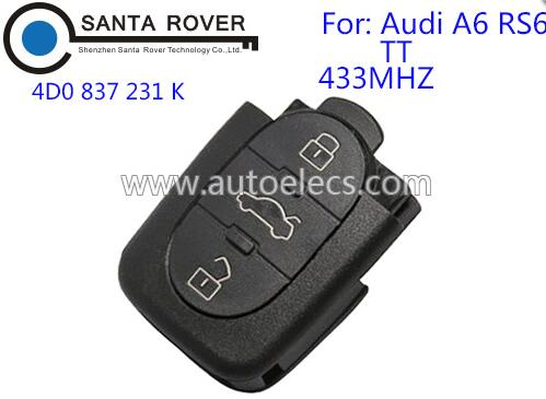Car Key For Audi Remote Key 3 Button 4D0 837 231 K 433Mhz