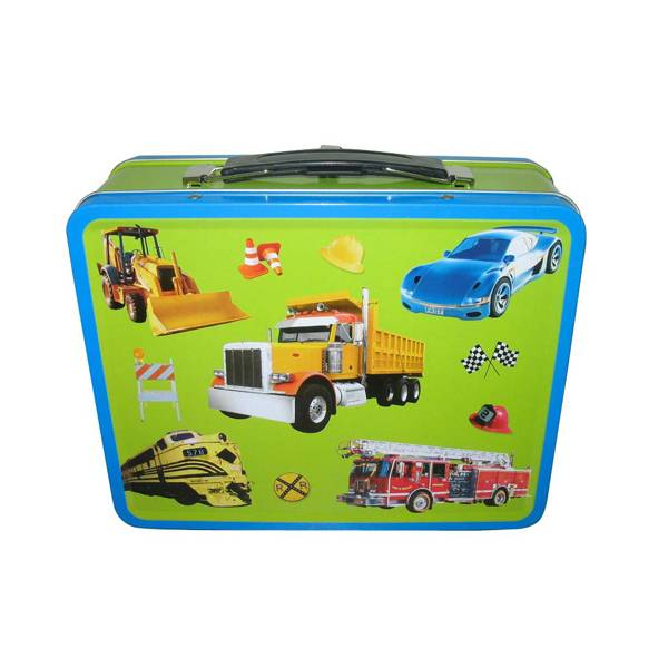 rectanglular lunch tin box with handle