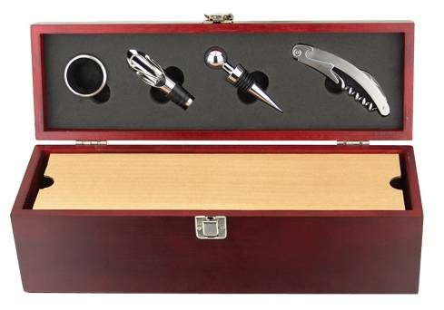 Solid Wooden Wine Box with 4-pc accessories