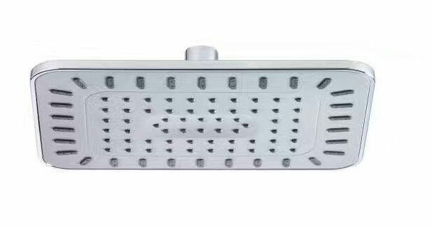 Square 8 Inch Overhead Shower Head 1- Setting with Grey Rubber Nozzles
