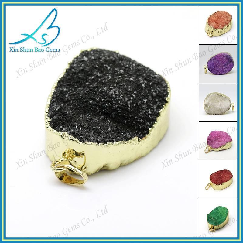 Druzy pendant wholesale, colorful plated natural druzy connectors