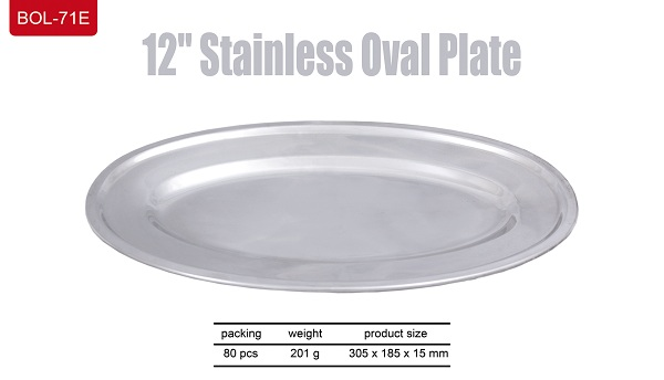 """Stainless Oval Plate 12"""""""