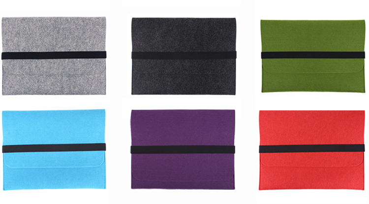 Felt Laptop Bag Tablet Sleeve Bag with elastic closure
