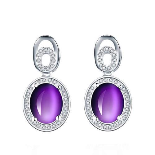 Fashion women cubic zirconia jewelry OEM amethyst earrings 925 sterling silver studs earrings