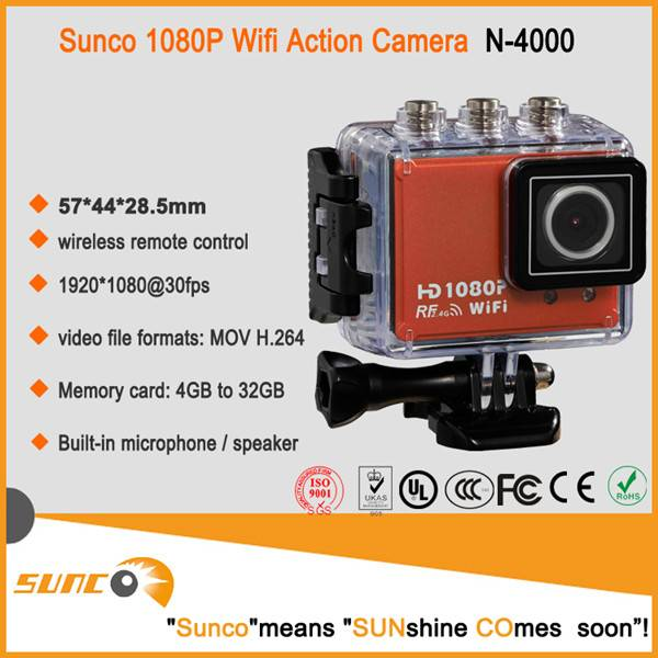 Popular 1080P full HD sports action camera, waterproof mini DV cam for outdoor activities