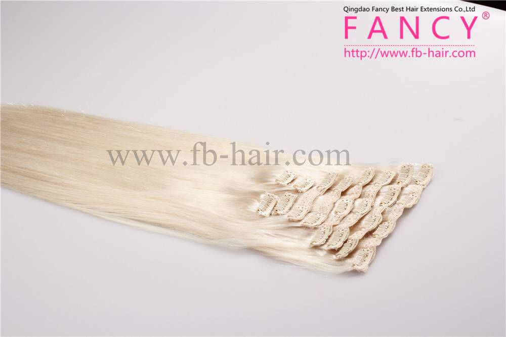 Platinum Blonde Hair #60 Hot Selling Clip in Hair Extensions