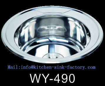 WY-490 small polished round bowl kitchen sink wirh frank style from Foshan factory with bottom paint