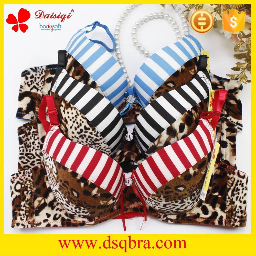 Hot images leopard print and stripe design women sexy bra underwear