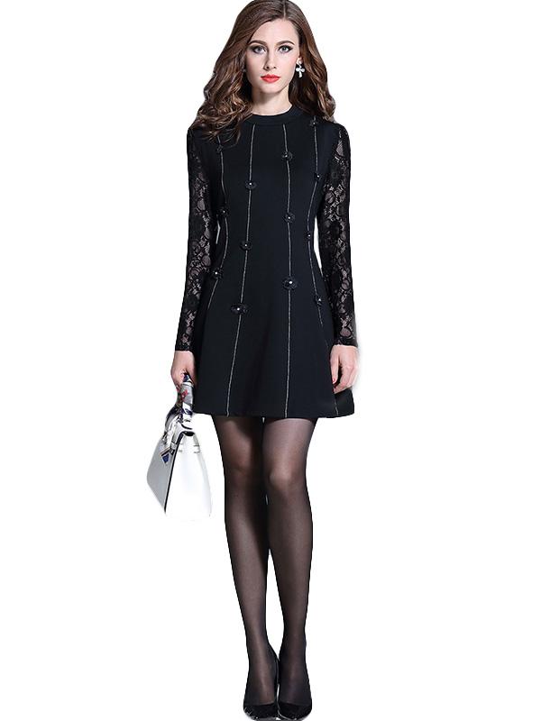 Spring Autumn Women Fashion Patchwork Lace O-Neck Long Sleeve Casual Dress WT51894