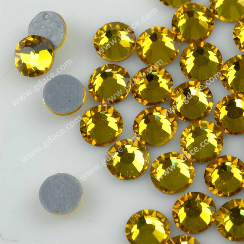China wholesale price topaaz color hot-fix crystals, flat back strass hot fix, iron on stones for sp
