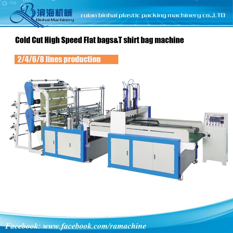 Cold Cutting 4 Lines T shirt Bag Making Machine