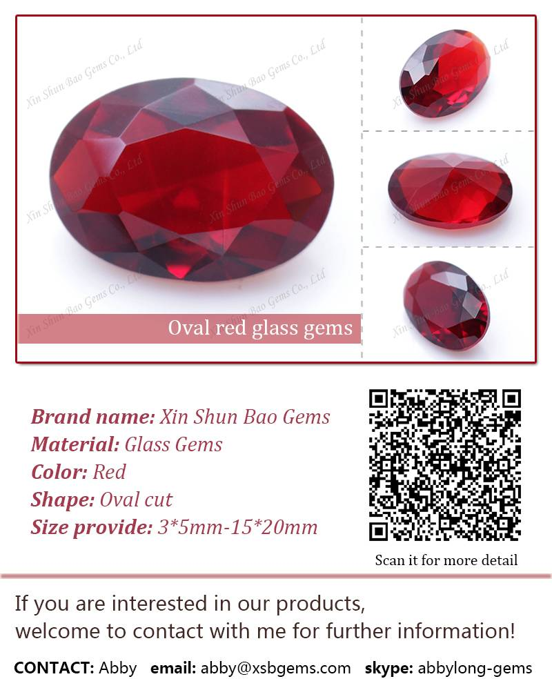 Competitive price oval cut red glass gems