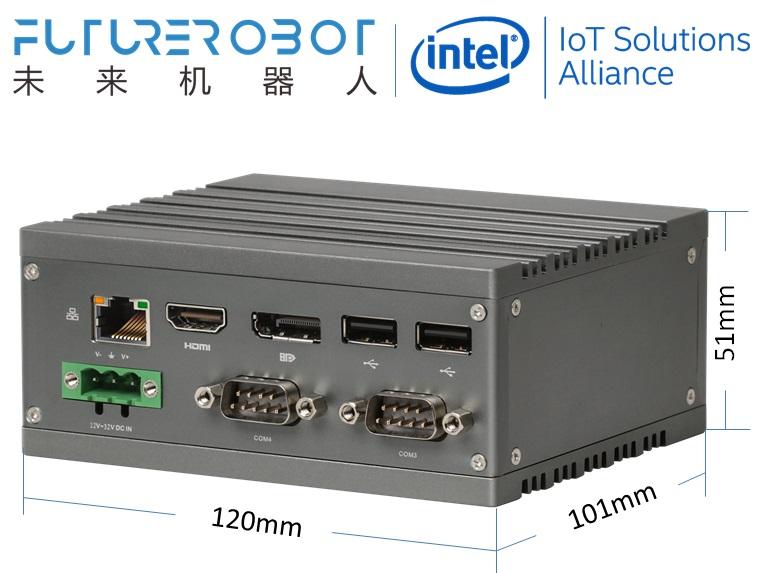 Future Robot F2 x86 N3350/N4200/J4205 HDMI+DP 3LAN 1SD 4COM 4USB Modular Fanless MiniPC WideTemp IPC