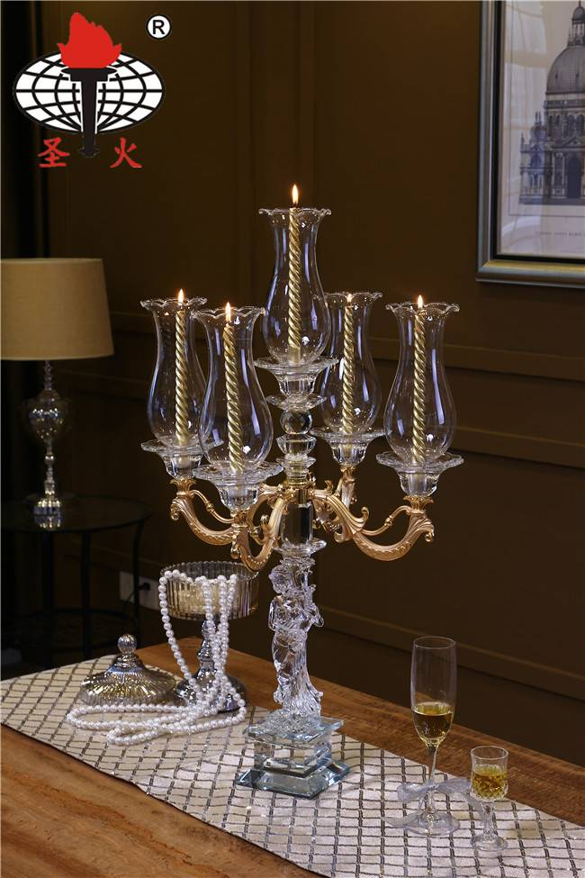 New Item! Elegant Wedding Centerpieces K9 Crystal Candelabra with Hurricane Lampshades