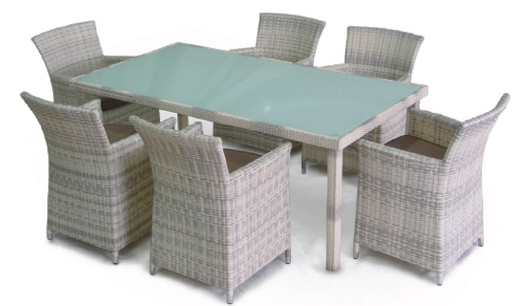 6-seater dining set, outdoor rattan dining furniture
