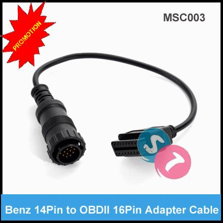 Benz 14Pin Male Connector to OBDII 16Pin Female Connector Diagnostic Cable