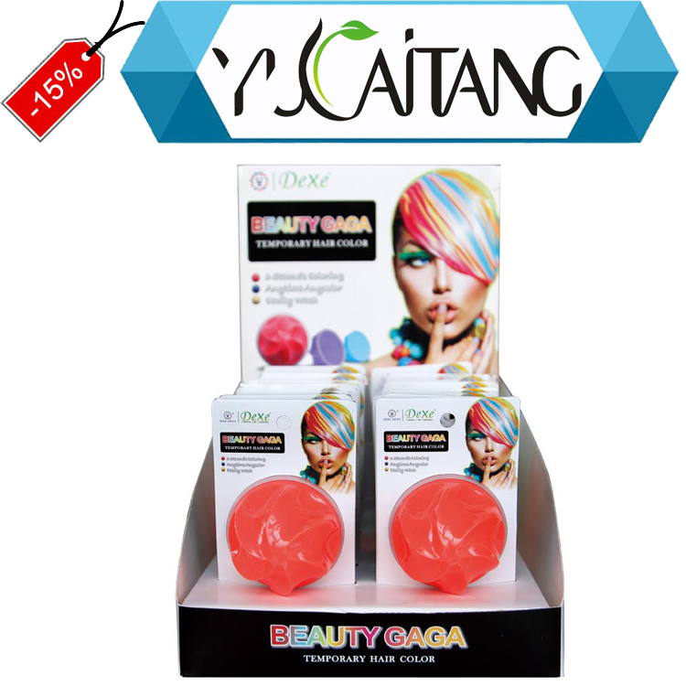 Easy wipe on and easy wipe off temporary hair make up product Dexe Hair Color Chalk color rub