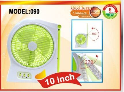 "Rechargeable 10"" fan with LED lamp"