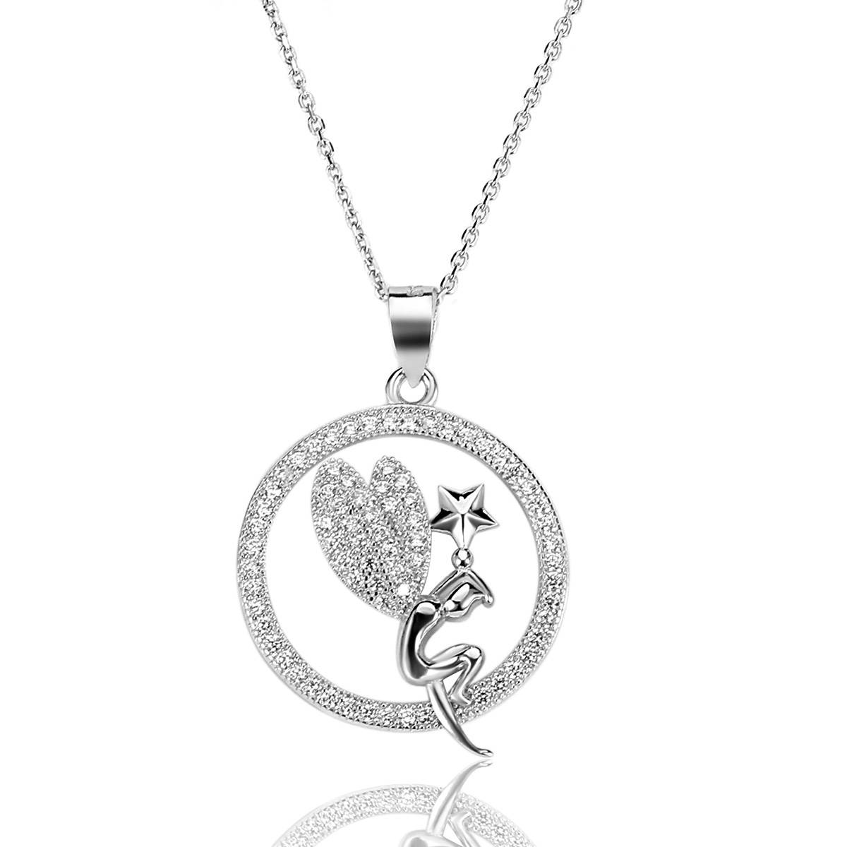 High Quality Necklace Pendant S925 Silver Necklace Angel Necklace Fairy Necklace Pendant Round Micro
