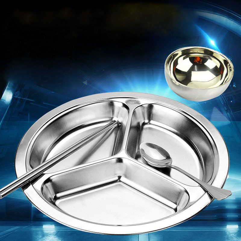 3 Compartments Round Plate Stainless Steel Food Containers Drop Resistant Tray for Kids