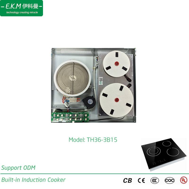 E. K. M Built-in Three Burner Induction&Radiant Cooker, 3600W, Can Use 5 Years (TH36-3B15)