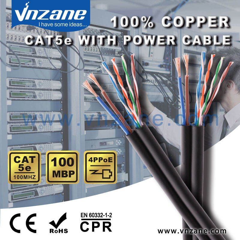 Cat5E network cable with 2 power cable for camera