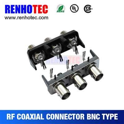 Right Angle three BNC female connectors in one row