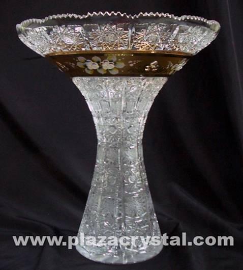 355 Bohemia Crystal Gold PK Fountain Vase
