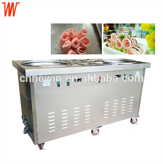 Double pan CE certified fried fry ice cream machine roll with 6 containers