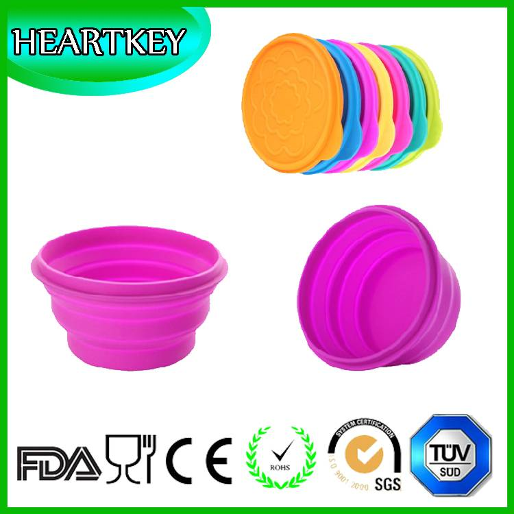 Colorful Pet Dog Portable Bowl Feeding Water Feeder Travel Silicone Collapsible Bowl With Lid