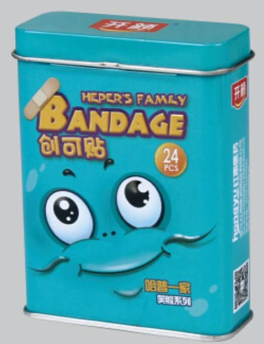 Cartoon PE bandage in tin box