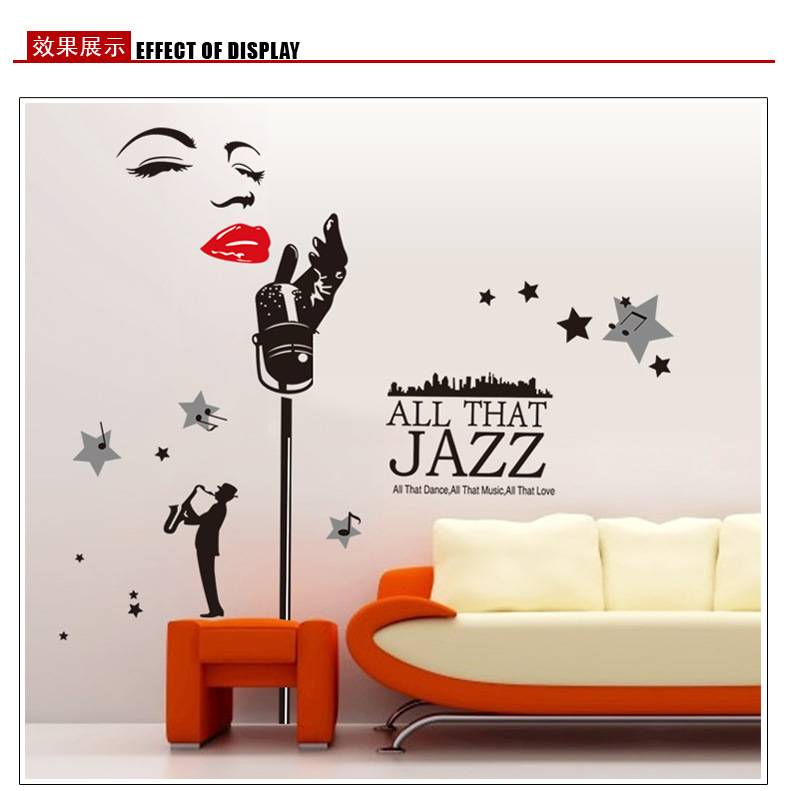 Jazz Music Wall sticker MIC Microphone decal for Living room & KTV room Size 60x90cm