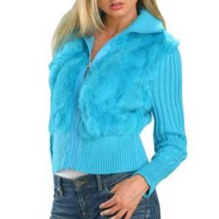 Ladies Knitted Turquoise Jacket with Rabbit Fur