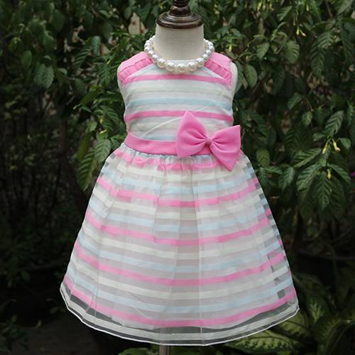 Fantastic wholesale sleeveless pink bow children dresses girl casual clothes