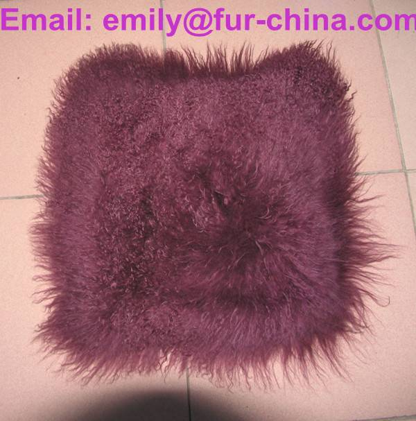 Dyed Single Color Mongolian Fur Cushion